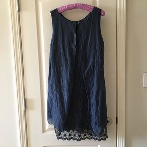 AMANTI ITALY Blue silk lace layer trim dress